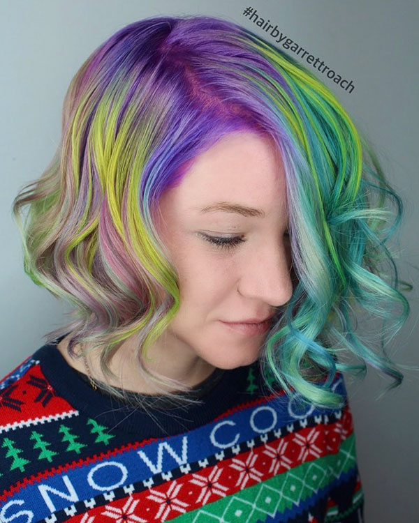 Short Haircuts On Rainbow Hair