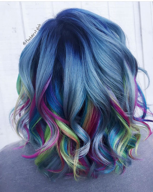 Short Rainbow Hair Color