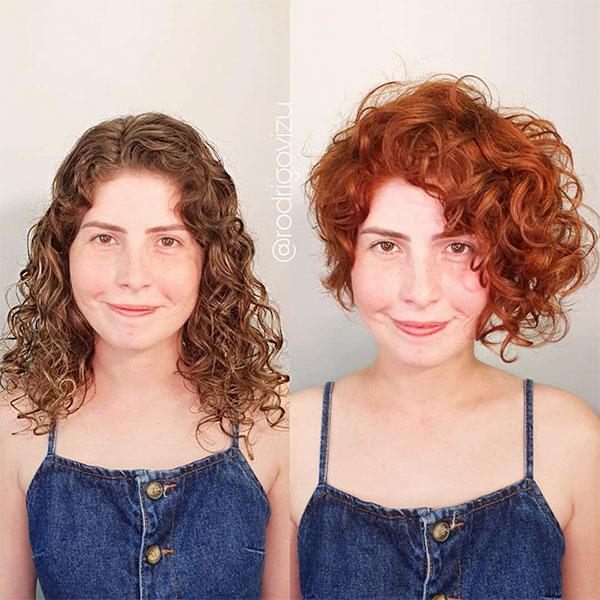 short hair female curly