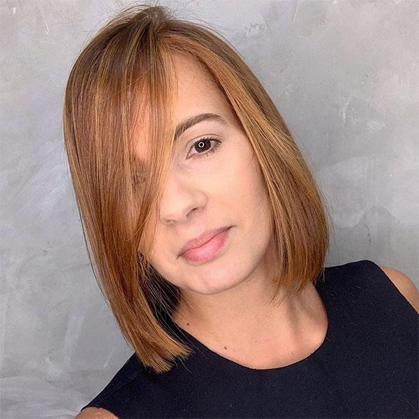 straight hair cut for woman